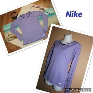 Nike Drifit Women's Long Sleeves V-Neck Top Shirt